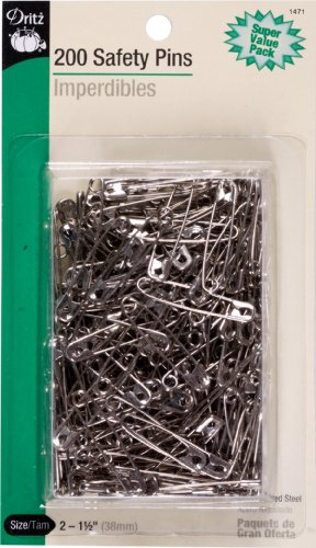 Buy Dritz 200-Piece Safety Pins, Size 2, Nickel Finish