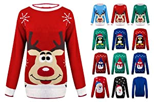 Womens Knitted Christmas Novelty Santa Reindeer Penguin Snowman Jumper Sweater