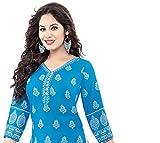 Jevi Prints Blue & White Unstitched Printed Synthetic Crepe Punjabi Suit Dupatta (V1667)