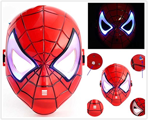 Spider-Man Led Light Up Eye Face Mask Masquerade Cosplay Costume Halloween Party