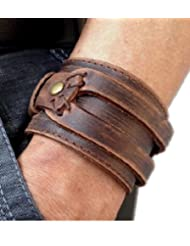 MULBA Antique Men's Brown Leather Cuff Bracelet, Leather Wrist Band Wristband Handcrafted Jewelry Sl2256