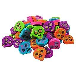 Day of the Dead, Dia de los Muertos Party Favor Erasers Pack (60 Pieces)