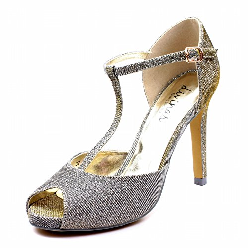 DW974 Divinas Barcelona Ladies High Heel T-Bar Party Peep Toe in Black/Gold Glitter Fabric Taglia 36