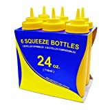 New Star 26580 Wide Mouth Plastic Squeeze Bottles, 24-Ounce, Yellow, Set Of 6
