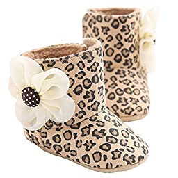 LIVEBOX Baby Premium Soft Sole Bow Anti-Slip Mid Calf Warm Winter Infant Prewalker Toddler Snow Boots (S: 0~6 months, Leopard Flower)