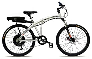 Prodeco V3 Genesis 500 8 Speed Folding Electric Bicycle, Brushed Aluminum with Satin Clear, 26-Inch/One Size from Prodeco Technologies