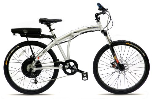 Prodeco V3 Genesis 500 8 Speed Folding Electric Bicycle, Brushed Aluminum with Satin Clear, 26-Inch/One Size