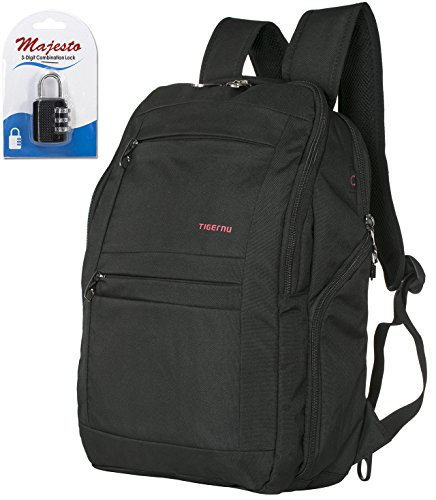 Laptop Backpack 14 Inch for Men and Women - Slim - Padded - Professional - Lightweight - Water Resistant - Ergonomic - With Bottle Holders - for Business + Padlock - Bundle - Black