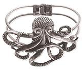 ZAD Unique Large Octopus Cuff Bracelet Antique Silver Tone