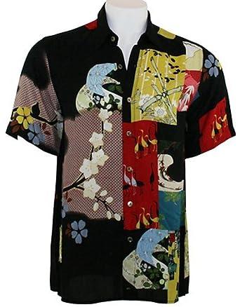 Citron - Asian Quirky Patchwork Silk Fukure, Black Vintage Men's Shirt