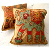 2 Light Brown Applique Patchwork Ethnic Indian Elephant Throws Pillow Cases Toss Cushion Covers