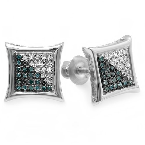 0.15 Carat (ctw) Sterling Silver Blue & White Round Diamond Micro Pave Setting Kite Shape Stud Earrings