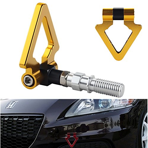 Dewhel JDM Racing Aluminum Triangle Tow Hooks Eyes Front Rear Japanese Car Auto Trailer Gold (Gold Rear Tow Hook compare prices)