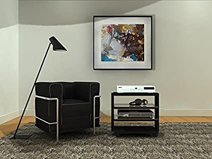 R&C 55-4 NN - Mueble HIFI 4 estantes. Vidrio negro /Chasis negro.