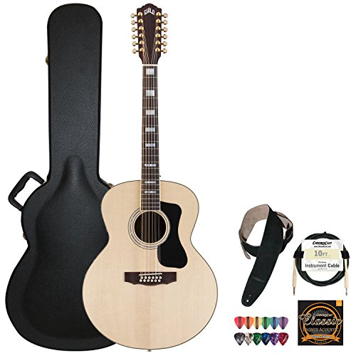 Guild F-1512E Natural Jumbo Acoustic Electric Guitar With Guild Hard Case, Chromacast Strings, Cable, Picks And Strap