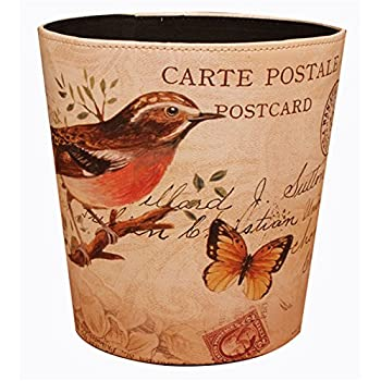 Bestwoo Pastoral Style Trash Can Wastebasket Bin without Lid (Bird)