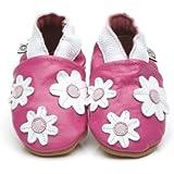 Chaussons Bébé en cuir doux Petites Fleures Rose 3/4 ans