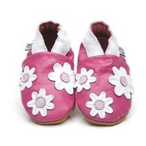 Chaussons Bébé en cuir doux - Petites fleures Rose - 12/18 mois