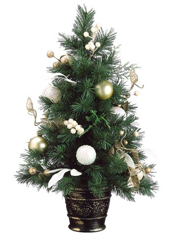 2' Tiffany Gold Pre-Decorated Potted Artificial Christmas Tree - Unlit