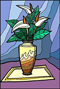 Bouquet of Anthurium Flowers in Vase - Etched Vinyl Stained Glass Film, Static Cling Window Decal
