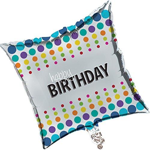 Creative Converting Square Birthday Pop! Metallic Balloon, Multicolor