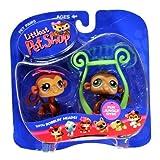 Hasbro Year 2005 Littlest Pet Shop Pet Pairs Series Bobble Head Pet Figure Set - Brown Monkey With Blue Eyes (...