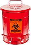 Justrite 05930R Steel Biohazard Waste Can, 10 Gallon Capacity, Red