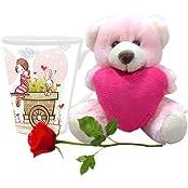 Valentine Gifts HomeSoGood A Walk With My Valentine White Ceramic Coffee Mug With Teddy & Red Rose - 355 Ml