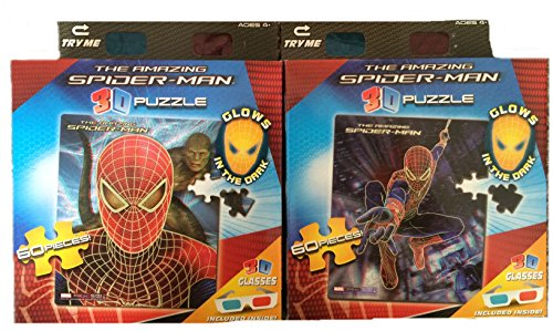 The Amazing Spider-Man Set of 2 3D Glow in the Dark 60 Piece Jigsaw Puzzles - 1