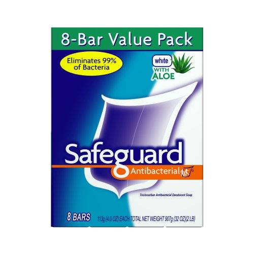 Safeguard Antibacterial Bar Soap with Aloe, 8 Count, White, 4.0-Ounces Packages (Pack of 3)
