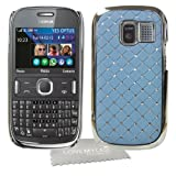 LOVE MY CASE / NEW BLUE Diamond Bling with Chrome Trim Hard Case Cover with LMC Cloth for Nokia Asha 302