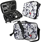 DURAGADGET Limited Edition Grey Camo Travel Armoured Protective Shell Storage Case With Shock Absorbing Foam & Carry Handle Designed For GoPro Headcams Including GoPro Hero 3 AHDBT-301 Camcorder - (Black, Silver and White Editions), HERO3+ CHDHX-302 / CHDHN-302, Hero 2, Hero 1, HD Hero 960 Cameras