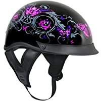 Outlaw T-72 Dual-Visor Glossy Motorcycle Half Helmet with Graphics of Flowers a - Medium from Outlaw Helmets