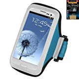 Premium Sport Armband Case For HTC Droid DNA 6435 - Light Blue + Cell Phone Antenna Booster