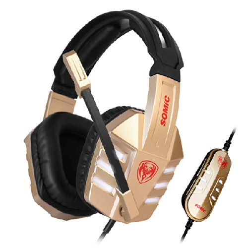 Fome New Style Somic Gikin 7.1 Stereo G928Vip Virtual Best Headsets Powerful Bass Earphone With Mic Usb Plug 3.0M Cords For Music And Games Champagne Gold + Fome Gift