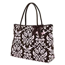 Belvah Quilted Damask Extra Large Tote Handbag (Brown/ Pink)