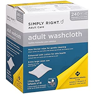 3 X Simply Right Adult Washcloths - 240 ct. by Simply Right