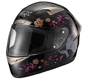 GLX Whisper Full Face Motorcycle Helmet (Black, Small)
