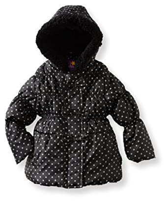 Pink Platinum Girls 7-16 Square Dot Puffer Jacket, Black, 2T