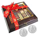Chocholik Belgium Chocolate Gifts - Assortment Of Exotic Chocolates With 5gm X 2 Pure Silver Coins - Diwali Gifts