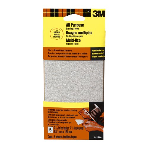 3M 9113DCNA 3.66-Inch by 7.5-Inch Adhesive Backed Sandpaper Sheets, Medium Grit, 5-pack
