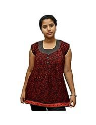 Odishabazaar Women's Red Black Cotton Printed Short Top Blouse