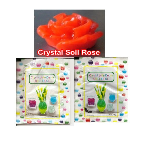 Crystal Jelly Decor Colorful Beads; Black and White Color Kit; + Includes Crystal Soil Rose Figurine