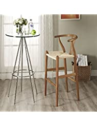LexMod Hourglass Wood Bar Stool, Walnut by LexMod