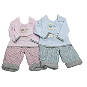 Baby Animal Design Long Sleeve Top & Trousers Set with Bib