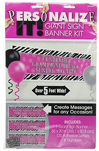 "Amscan Pink Polka Dots & Zebra Print Giant Sign Banner, Black/White, 65"" x 20"""