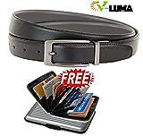 V-Luma Black Leather Belt with free Credit Card Holder for Men's