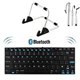 EZOWare New-Version Bluetooth 3.0 Wireless Keyboard plus Metal Foldable Travel Stand for Apple iPad, iPhone; Android Tablets; Windows Tablets: Surface Windows RT / 8 pro, Asus Vivo Tab RT TF600T; Samsung ATIV TAB; Acer Iconia W510, W700 and More