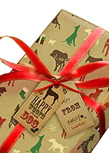 'From the Dog' Christmas Wrapping Paper 2PK + 2 traditional Gift Tags