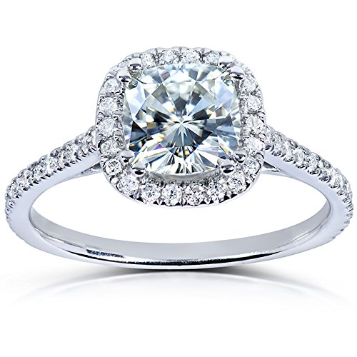 Cushion-cut Moissanite & Diamond Engagement Ring 1 1/3 Carat (ctw) in 14k White Gold (Cushion Cut Engagement Rings compare prices)